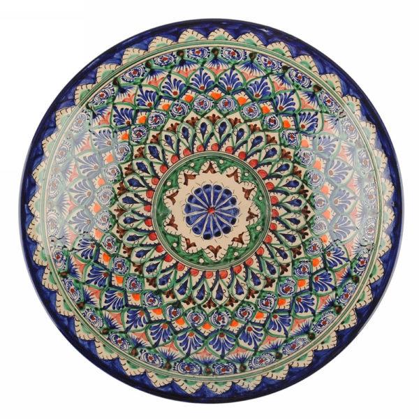 Ляган Риштанская Керамика 32 см. плоский,синий 1