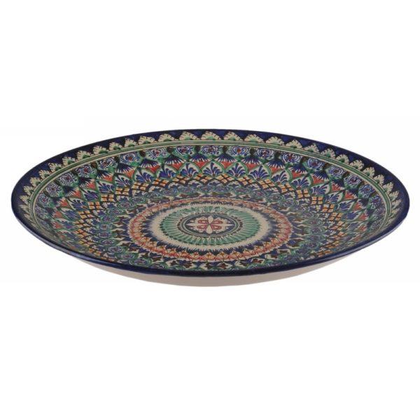 Ляган Риштанская Керамика 32 см. плоский,синий 3