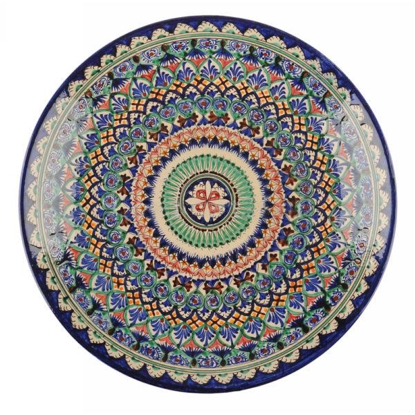 Ляган Риштанская Керамика 32 см. плоский,синий