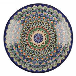 Ляган Риштанская Керамика 38 см. плоский, синий1