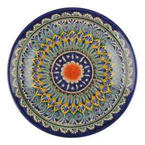 Ляган Риштанская Керамика 38 см. плоский, синий2