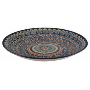 Ляган Риштанская Керамика 38 см. плоский, синий3