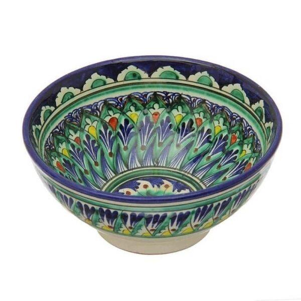 Коса Риштанская Керамика средняя d-15,5 см. h-8 см. синяя 3