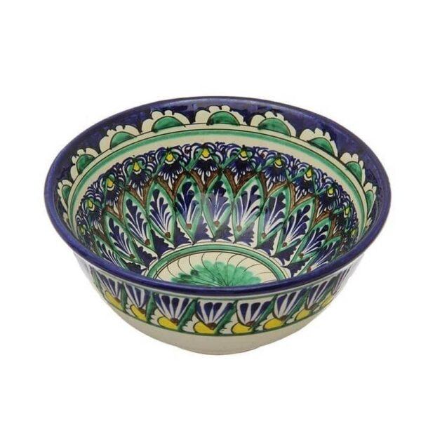 Коса Риштанская Керамика средняя d-15,5 см. h-8 см. синяя 1