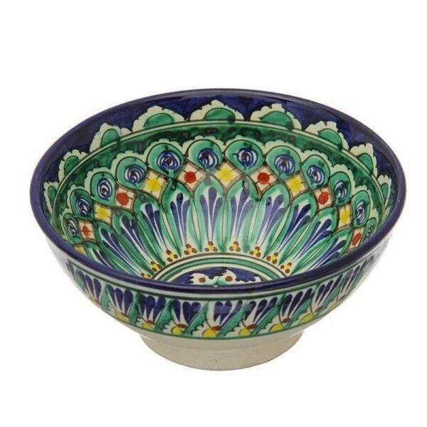 Коса Риштанская Керамика средняя d-15,5 см. h-8 см. синяя